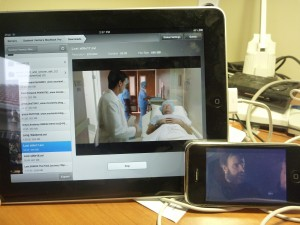 Photo showing AirVideo running on iPad and iPhone